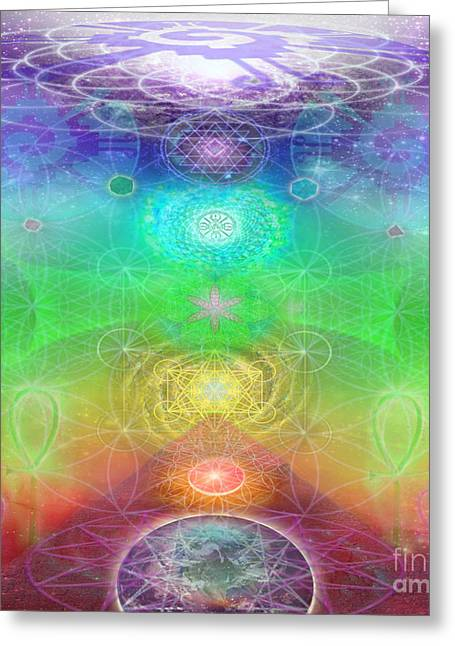 Chakra Rainbow Greeting Cards - Chakra Activation Geometry Template Greeting Card by Jahsah Ananda