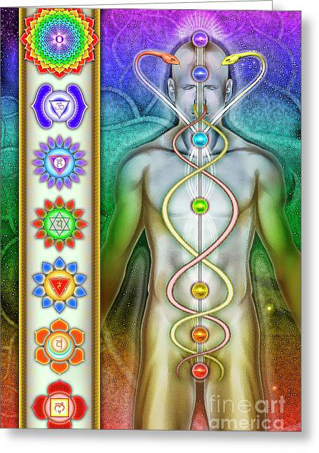 Chakra System Greeting Card by Dirk Czarnota