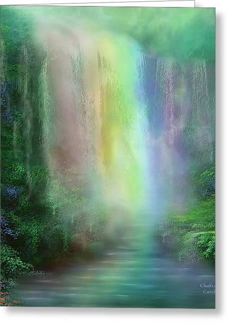 Chakra Waterfalls Greeting Card by Carol Cavalaris