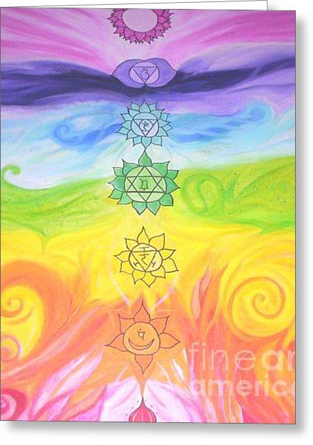 Chakras Aligned  Greeting Card by Sacred  Muse
