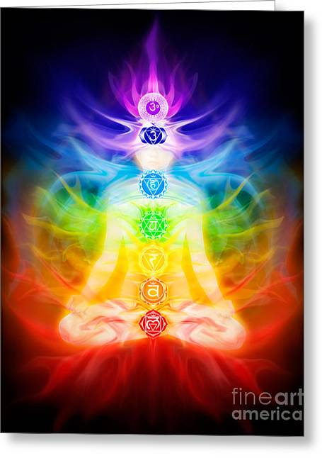 Luminous Body Greeting Cards - Chakras and energy flow on human body Greeting Card by Oleksiy Maksymenko