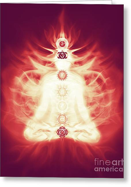 Luminous Body Greeting Cards - Chakras symbols and energy flow on human body Greeting Card by Oleksiy Maksymenko