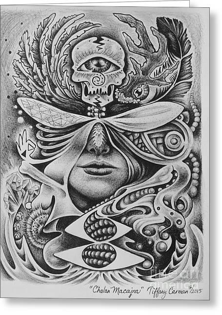 Sacred Drawings Greeting Cards - Chalan Macajna Greeting Card by Tiffany Carman