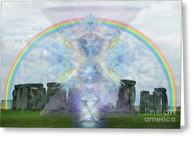 Chalice Over Stonehenge In Flower Of Life Greeting Card by Christopher Pringer