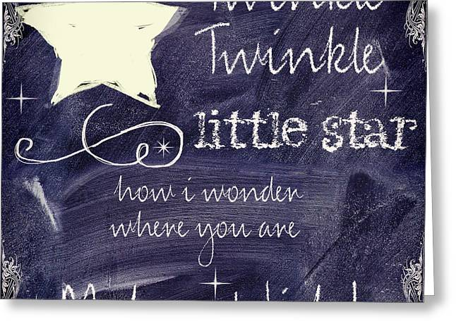 Twinkle Greeting Cards - Chalk Board Nursery Rhymes Greeting Card by Mindy Sommers