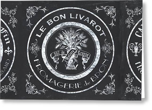 Chalkboard French Cheese Labels Greeting Card by Debbie DeWitt