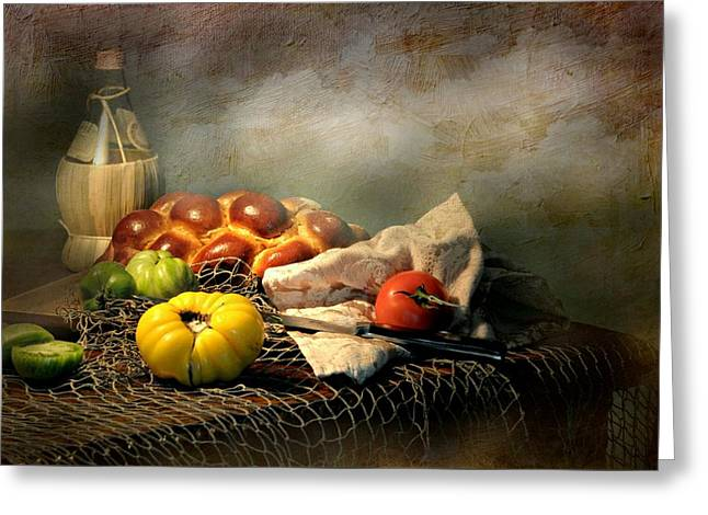 Still Life With Fish Greeting Cards - Challah Bread Greeting Card by Diana Angstadt