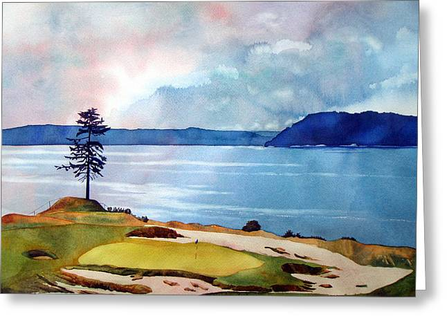 Us Open Greeting Cards - Chambers Bay 15th hole Greeting Card by Scott Mulholland