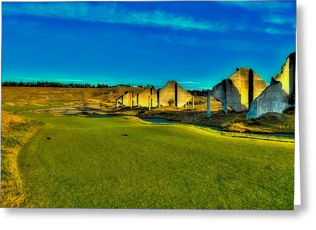 Us Open Greeting Cards - Chambers Bay #18 - The Quarry Greeting Card by David Patterson