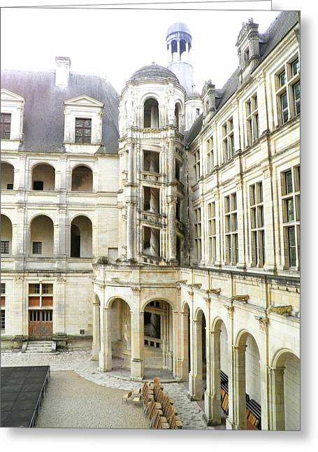 Stepping Stones Greeting Cards - Chambord Castle internal courtyard A Greeting Card by Leone M Jennarelli