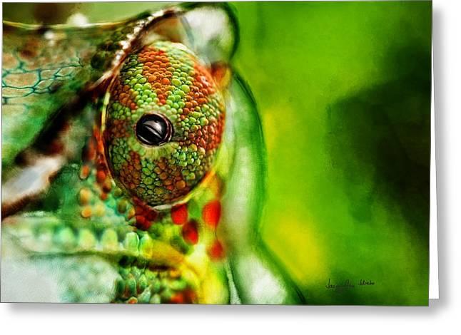 Sketchbook Digital Greeting Cards - Chameleon ....  Greeting Card by Jacqueline Schreiber