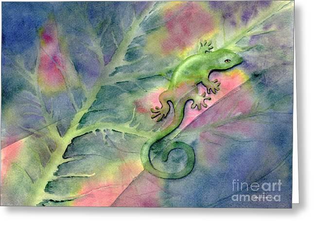 Chameleon Greeting Card by Amy Kirkpatrick