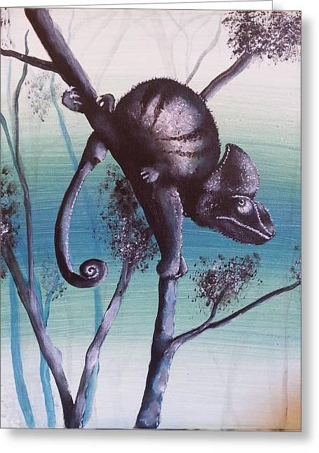 Chameleon Calyptratus Greeting Card by Judit Szalanczi