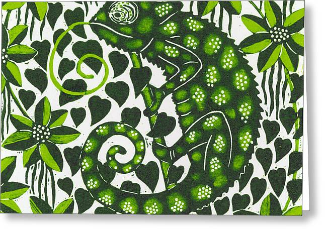 Woodcut Greeting Cards - Chameleon Greeting Card by Nat Morley