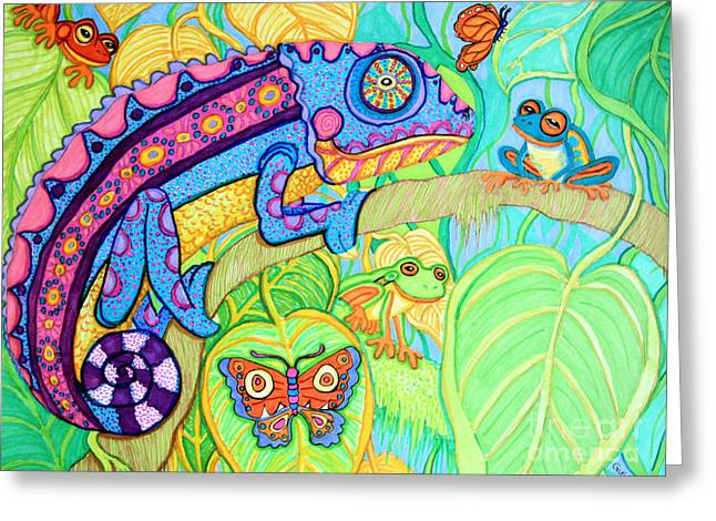 Chamelion And Rainforest Frogs Greeting Card by Nick Gustafson