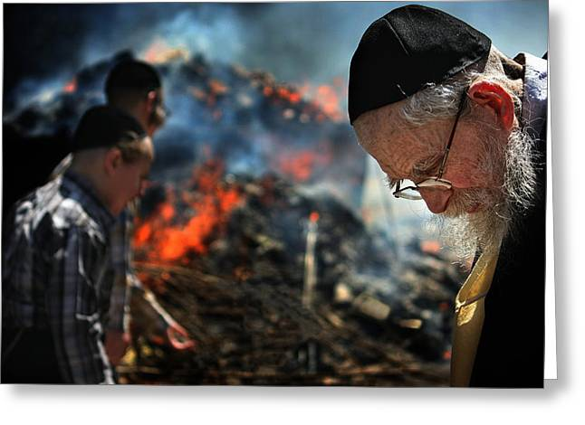 Old Man Greeting Cards - Chametz Burning-2 Greeting Card by Osher Partovi