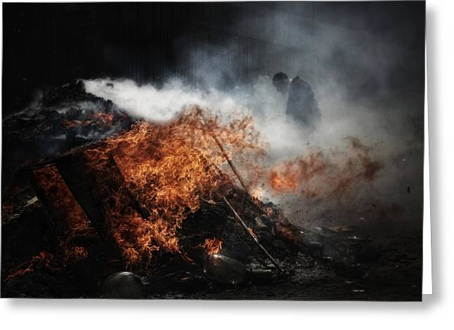 Old Man Greeting Cards - Chametz Burning Greeting Card by Osher Partovi