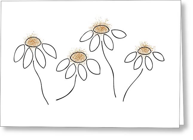 Black And White Drawing Greeting Cards - Chamomile Greeting Card by Frank Tschakert