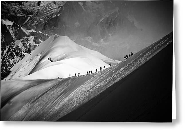 ist Pyrography Greeting Cards - White Valley- Vallee Blanche- in   Chamonix  in Mont Blanc. Greeting Card by Cyril Jayant