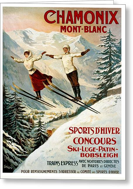 Ski Drawings Greeting Cards - Chamonix Mont Blanc France - Vintage Travel Greeting Card by Just Eclectic
