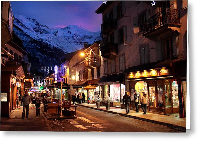 Ski Village Greeting Cards - Chamonix town in the shadow of Mont Blanc in the French Alps Greeting Card by Pierre Leclerc Photography