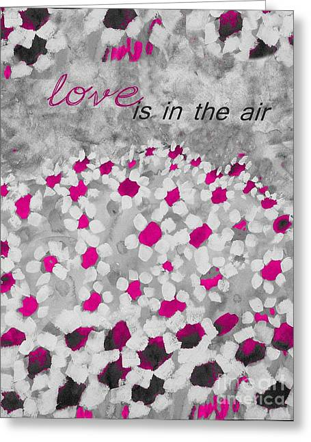 Fushia Paintings Greeting Cards - Champs de Marguerites - Love is in the Air - Pink-05b Greeting Card by Variance Collections