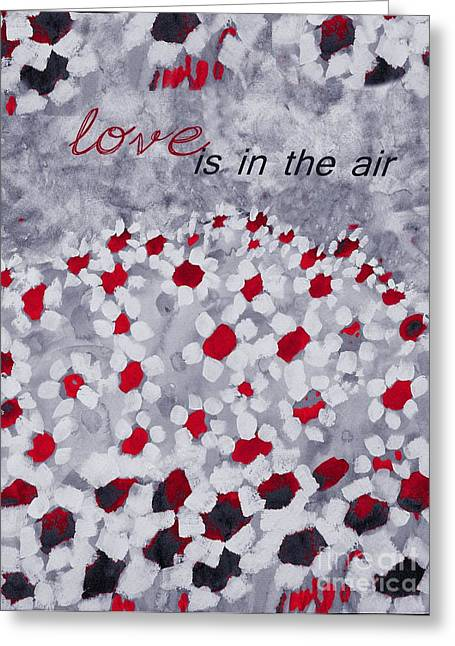 Floral Posters Greeting Cards - Champs de Marguerites - Love is in the Air - Red -a23a3 Greeting Card by Variance Collections