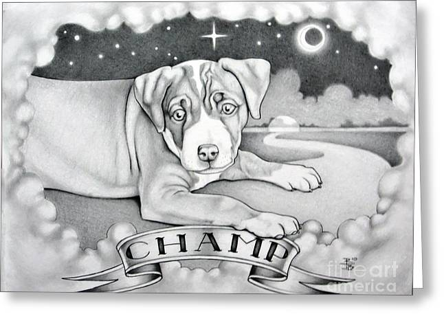 Champ Drawings Greeting Cards - Champ Greeting Card by Robert Ball
