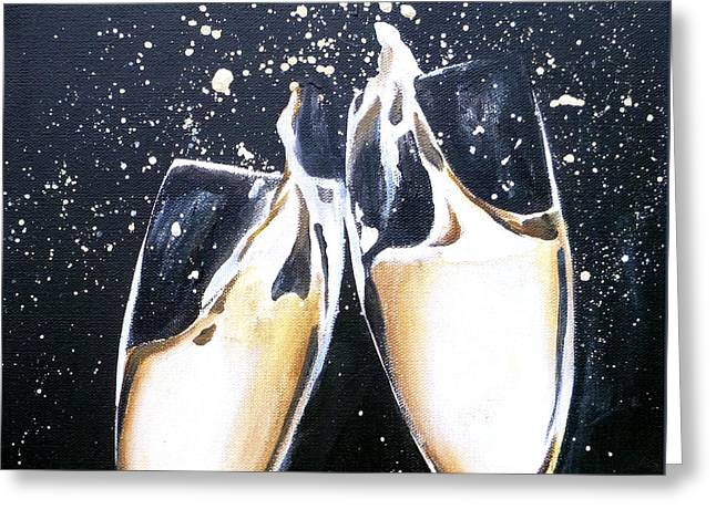 Bubbly Paintings Greeting Cards - Champagne Painting 2 Greeting Card by Jacqueline DelBrocco