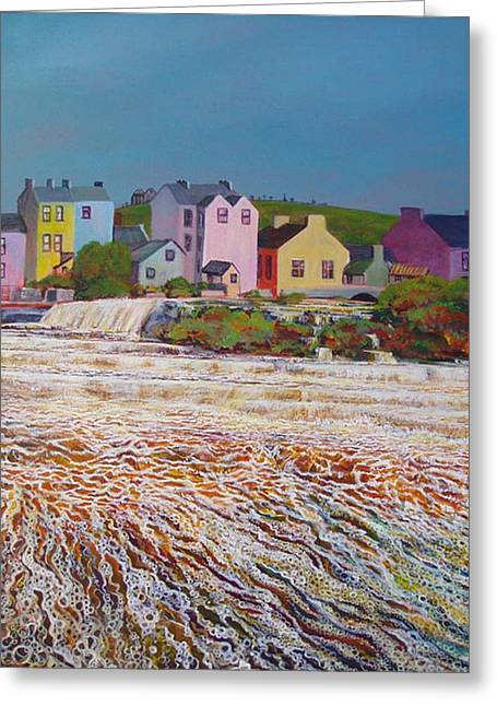 Ennistymon Greeting Card featuring the painting Champagne Cascade by Eamon Doyle