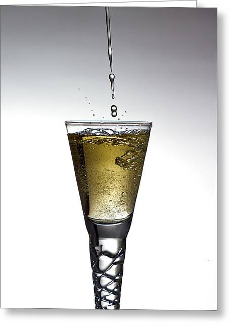 Wine Pour Greeting Cards - Champagne Greeting Card by Gert Lavsen