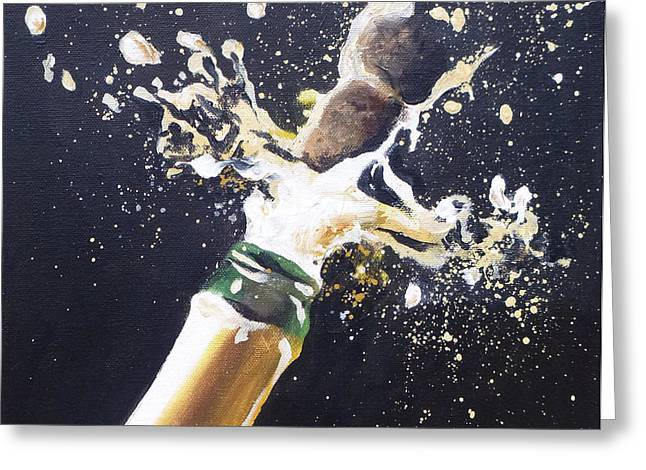 Bubbly Paintings Greeting Cards - Champagne Painting 1 Greeting Card by Jacqueline DelBrocco