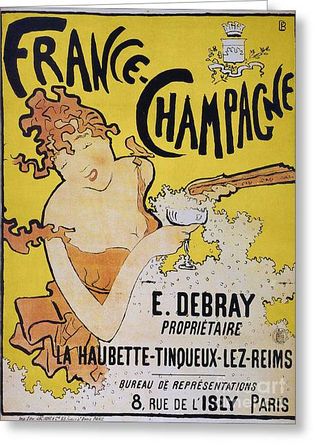 Posters Of Women Photographs Greeting Cards - Champagne Poster, 1891 Greeting Card by Granger