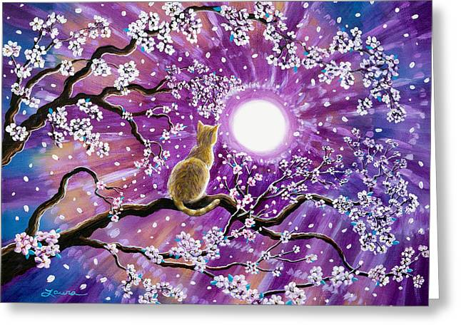 Champagne Tabby Cat In Cherry Blossoms Greeting Card by Laura Iverson