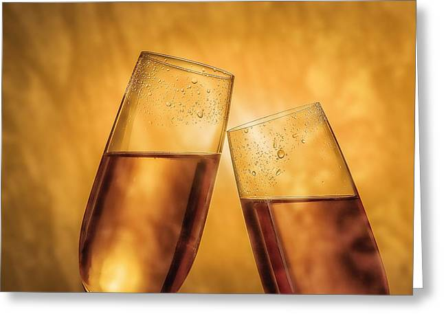 Champagne Glasses Greeting Cards - Champagne Toast Greeting Card by Tom Mc Nemar