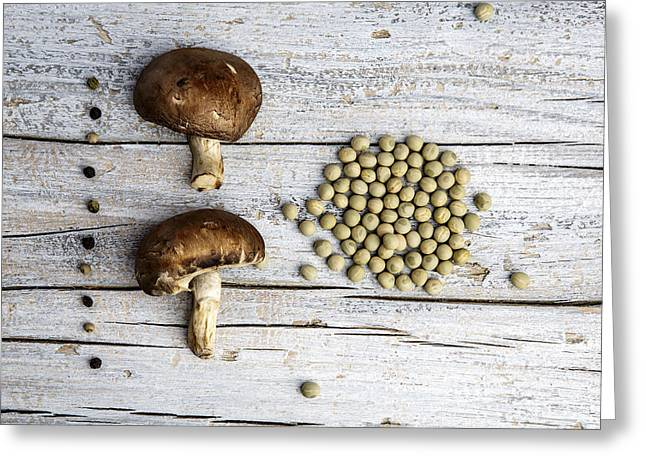 Champignons, Peas And Pepper Greeting Card by Nailia Schwarz