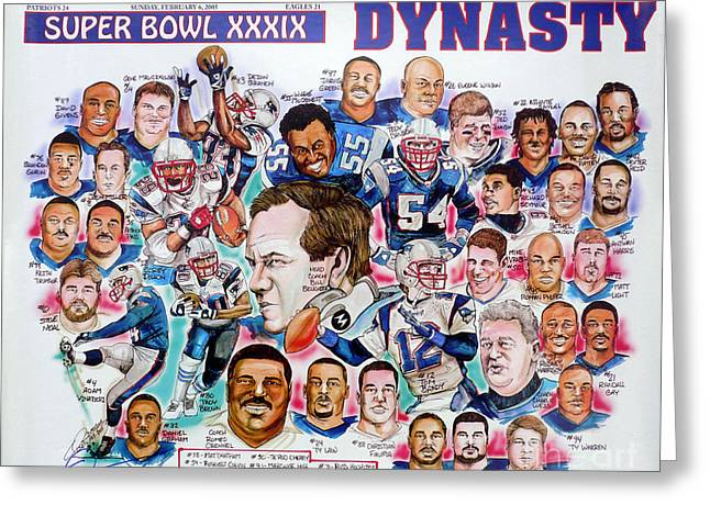 Nfl Drawings Greeting Cards - Championship Patriots Newspaper Poster Greeting Card by Dave Olsen