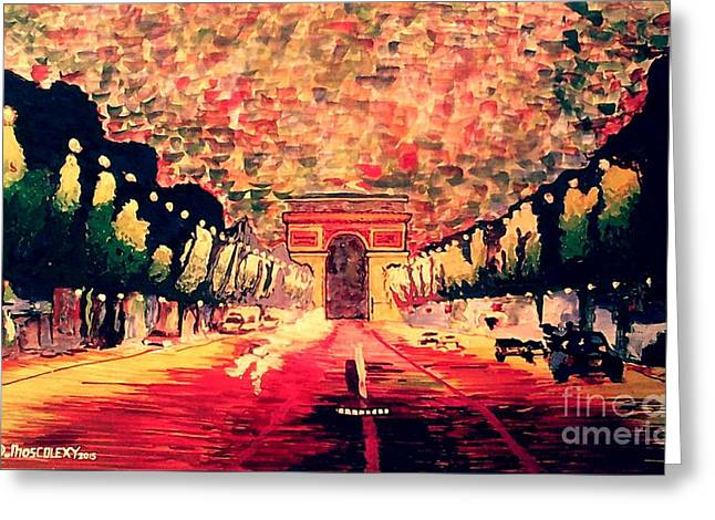 Cardboard Greeting Cards - Champs-elysee  Greeting Card by Moscolexy Moscolexy