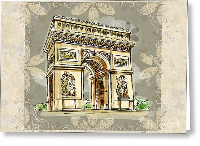 Champs Mixed Media Greeting Cards - Champs Elysees Paris Greeting Card by Bedros Awak