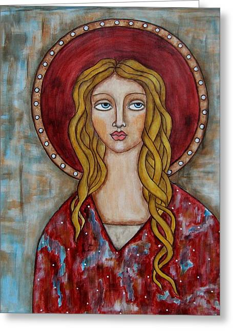 Religious Art Paintings Greeting Cards - Chamuel Greeting Card by Rain Ririn