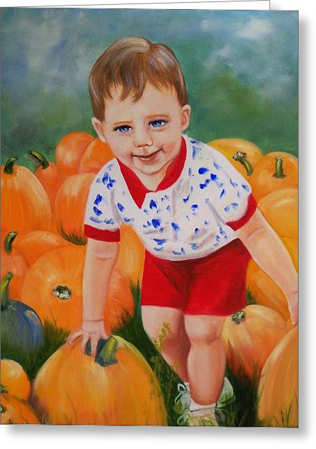 Boy Greeting Cards - Chance with the Pumpkins Greeting Card by Joni McPherson