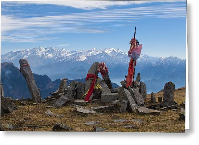 Recently Sold -  - Mountain Valley Greeting Cards - Chandrakani Pass Shrine 1 Greeting Card by Mayank M M Reid