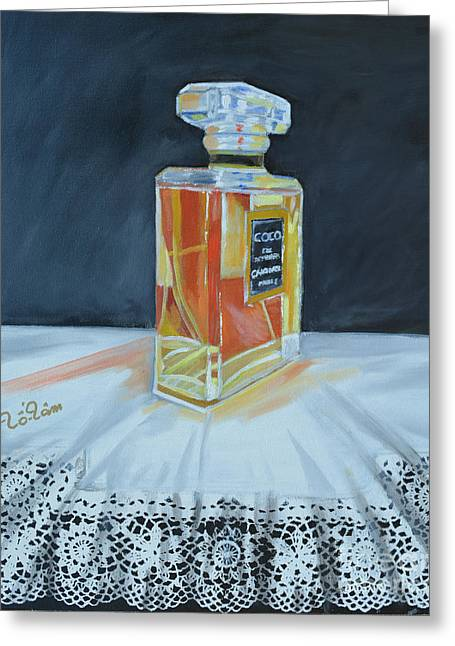 Recently Sold -  - Glass Bottle Greeting Cards - Chanel Coco with Lace Greeting Card by To-Tam Gerwe