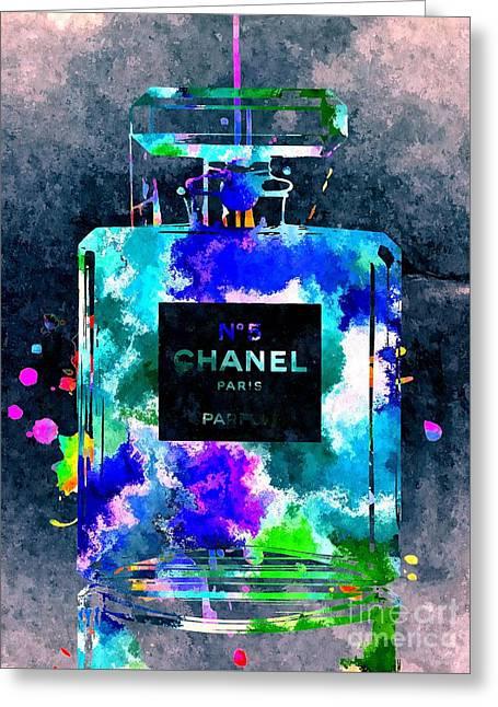 Bottle Of Perfume Greeting Cards - Chanel No 5 Dark Grunge Greeting Card by Daniel Janda