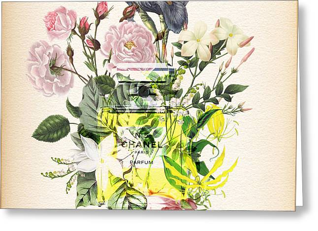Powder Greeting Cards - Chanel No. 5 Fragrance Notes Greeting Card by Nostalgic Art