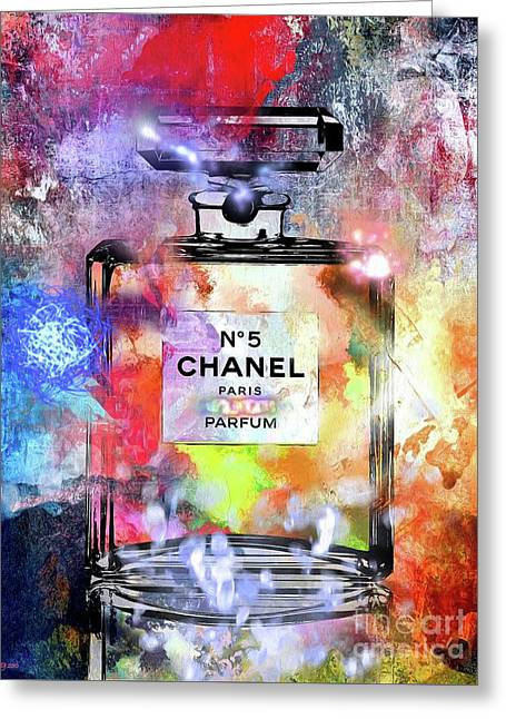 Chanel No. 5 Painted Greeting Card by Daniel Janda