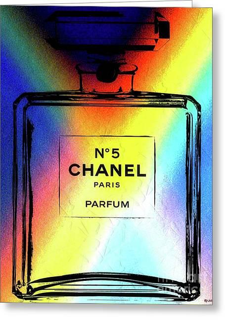 Chanel No. 5 Rainbow Greeting Card by Daniel Janda
