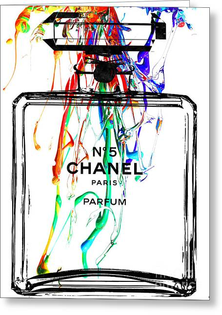 Bottle Of Perfume Greeting Cards - Chanel No. 5 Watercolor Greeting Card by Daniel Janda