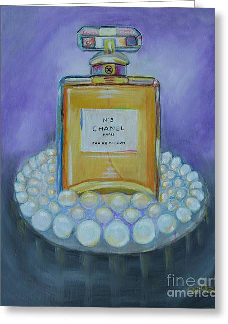 Chanel No 5 With Pearls Painting Greeting Card by To-Tam Gerwe