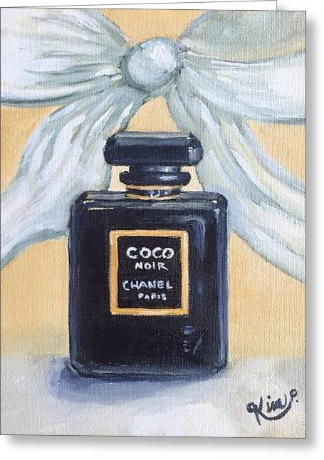 Bottle Of Perfume Greeting Cards - Chanel Noir with Bow Greeting Card by Kim Peterson